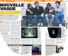 Le Matin med sin 2-siders omtale af SPOT-bands på Montreux Jaa Festival.